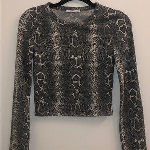 ZARA snakeskin semi crop sweater — BARELY WORN